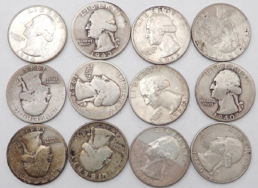 Twelve silver Washington quarters
