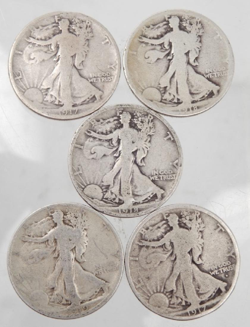 Five Walking Liberty half dollars