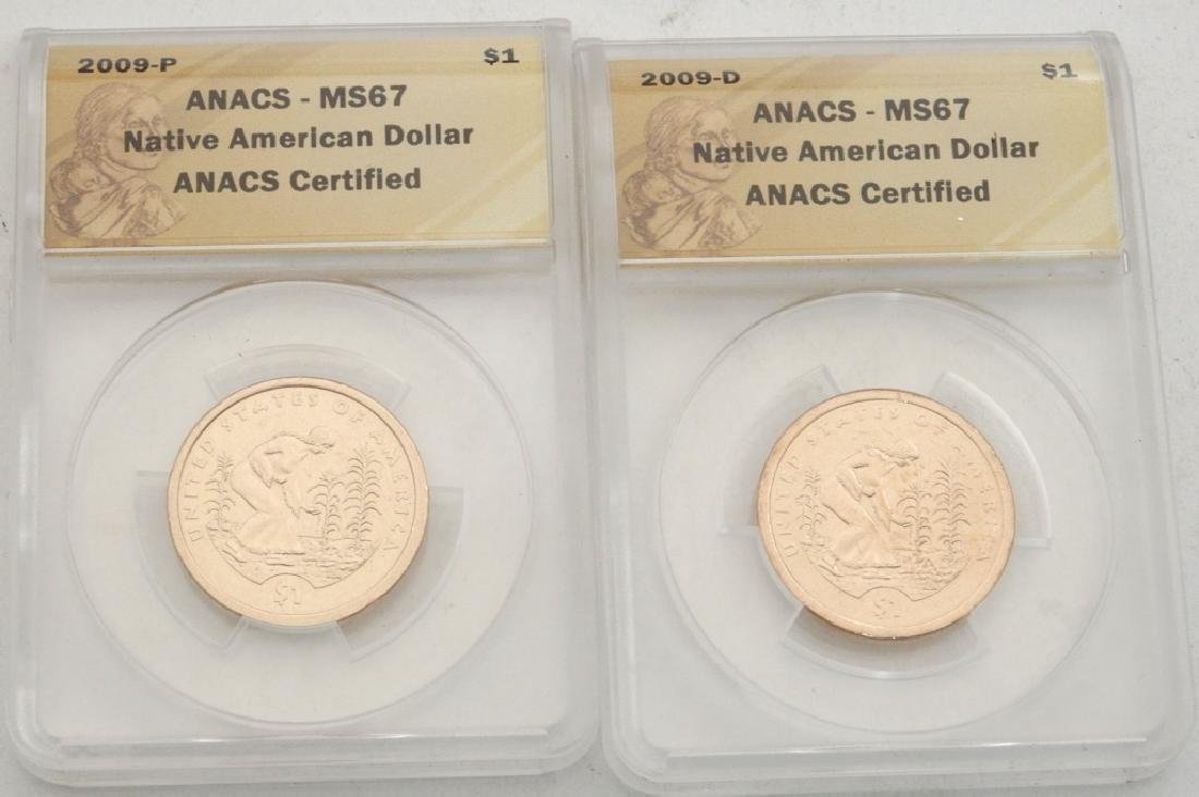 Two MS 67 ANACS Native American Dollars
