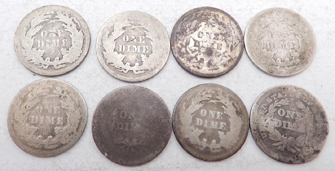 Eight Seated Liberty dimes - 2