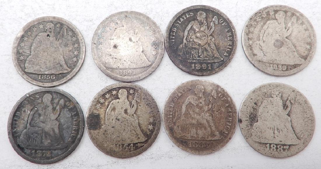 Eight Seated Liberty dimes