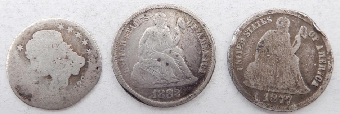 Two Seated Liberty dimes and a Capped Bust half dime