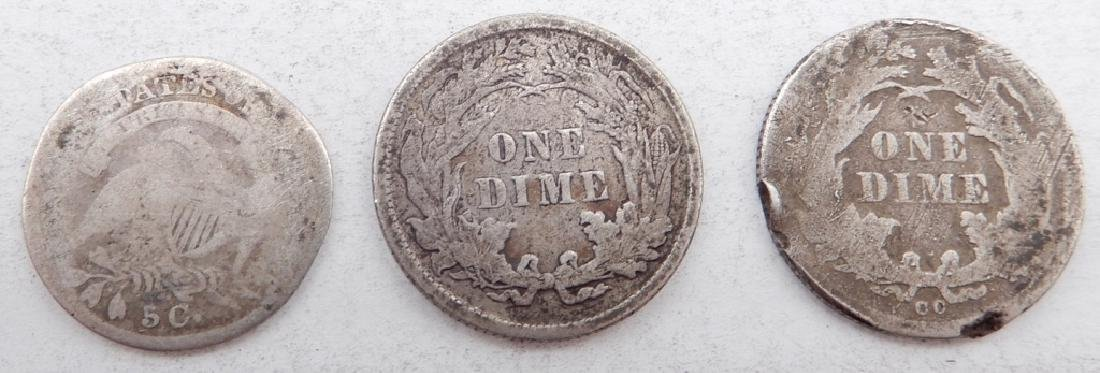 Two Seated Liberty dimes and a Capped Bust half dime - 2