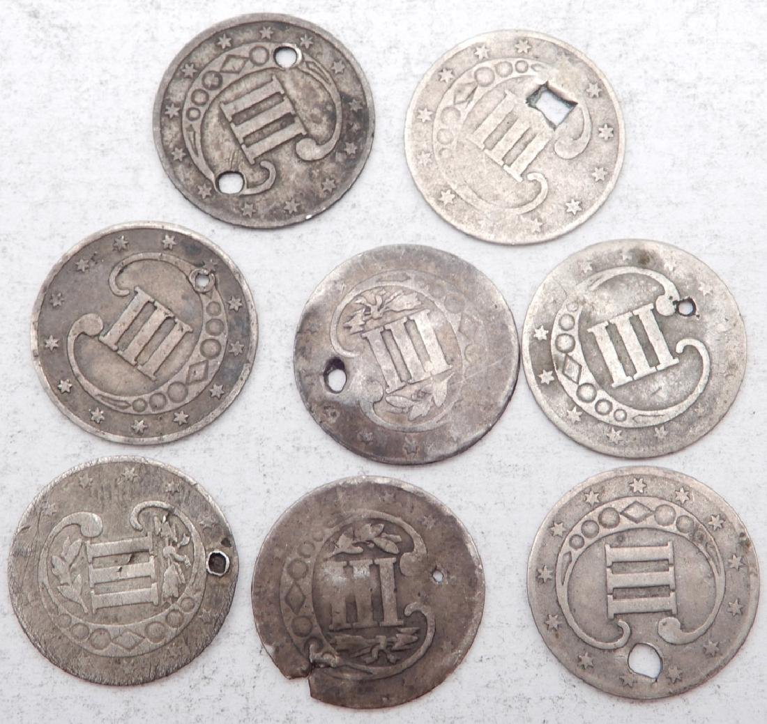 Eight 3 cent silver coins