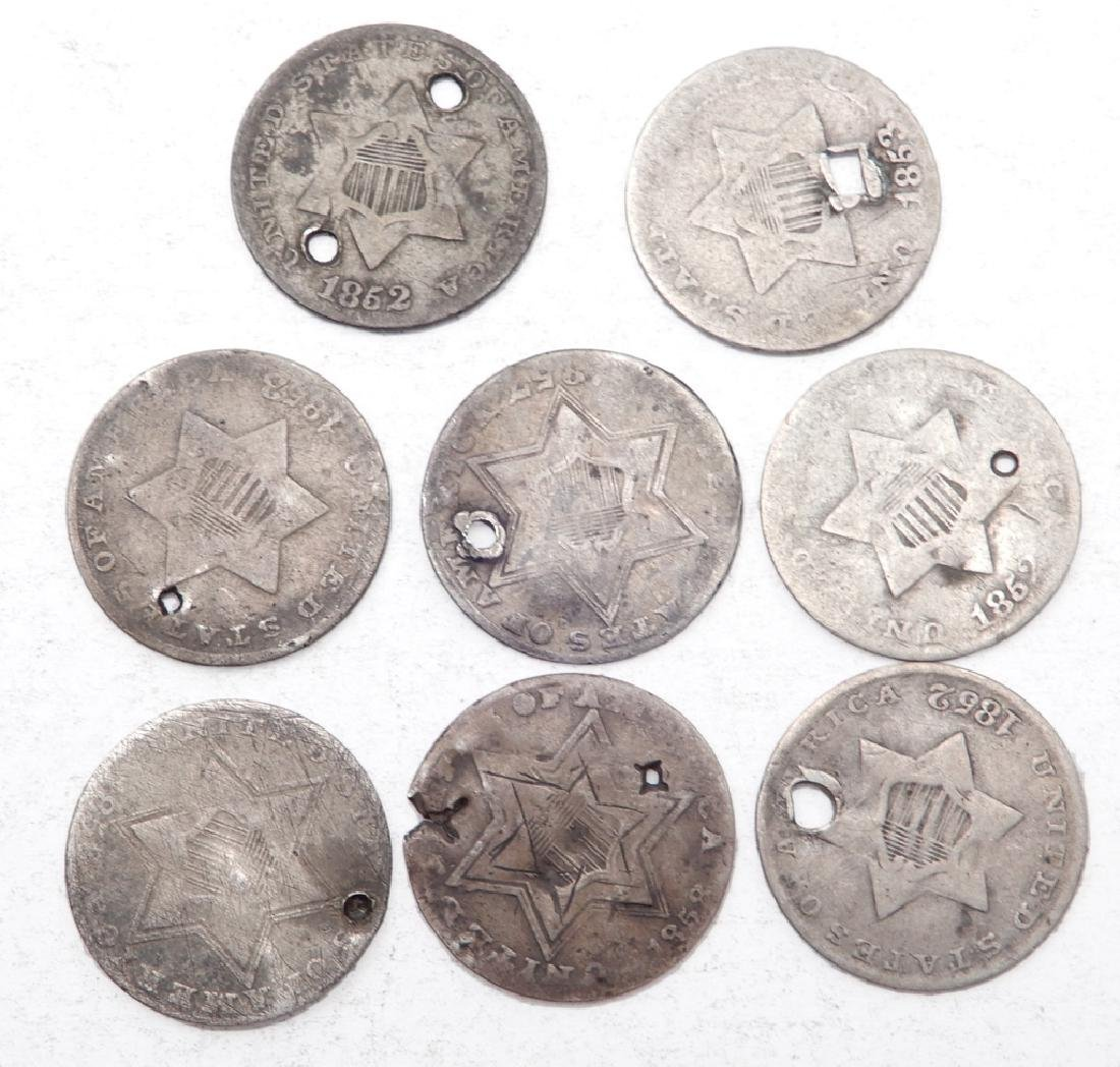 Eight 3 cent silver coins - 2