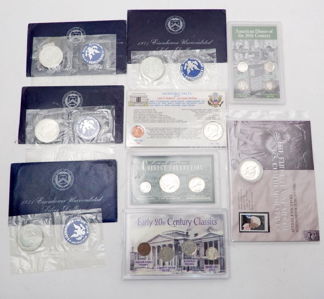 Five misc. silver sets and four Blue 1971 40% silver