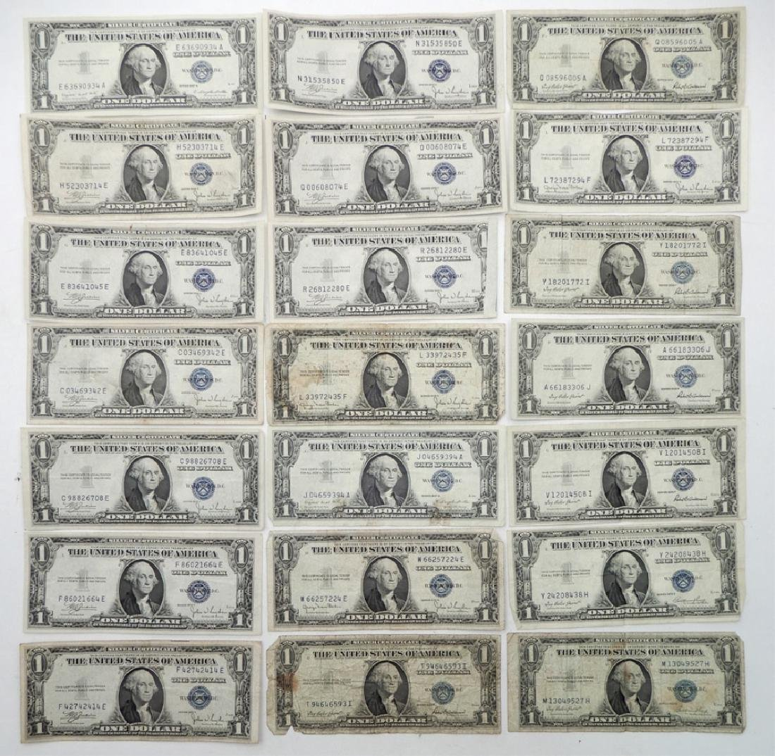 Twenty-one $1.00 silver certificates