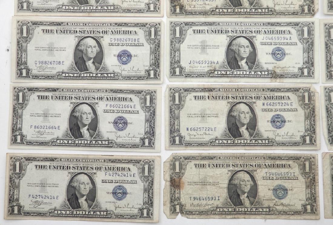 Twenty-one $1.00 silver certificates - 2