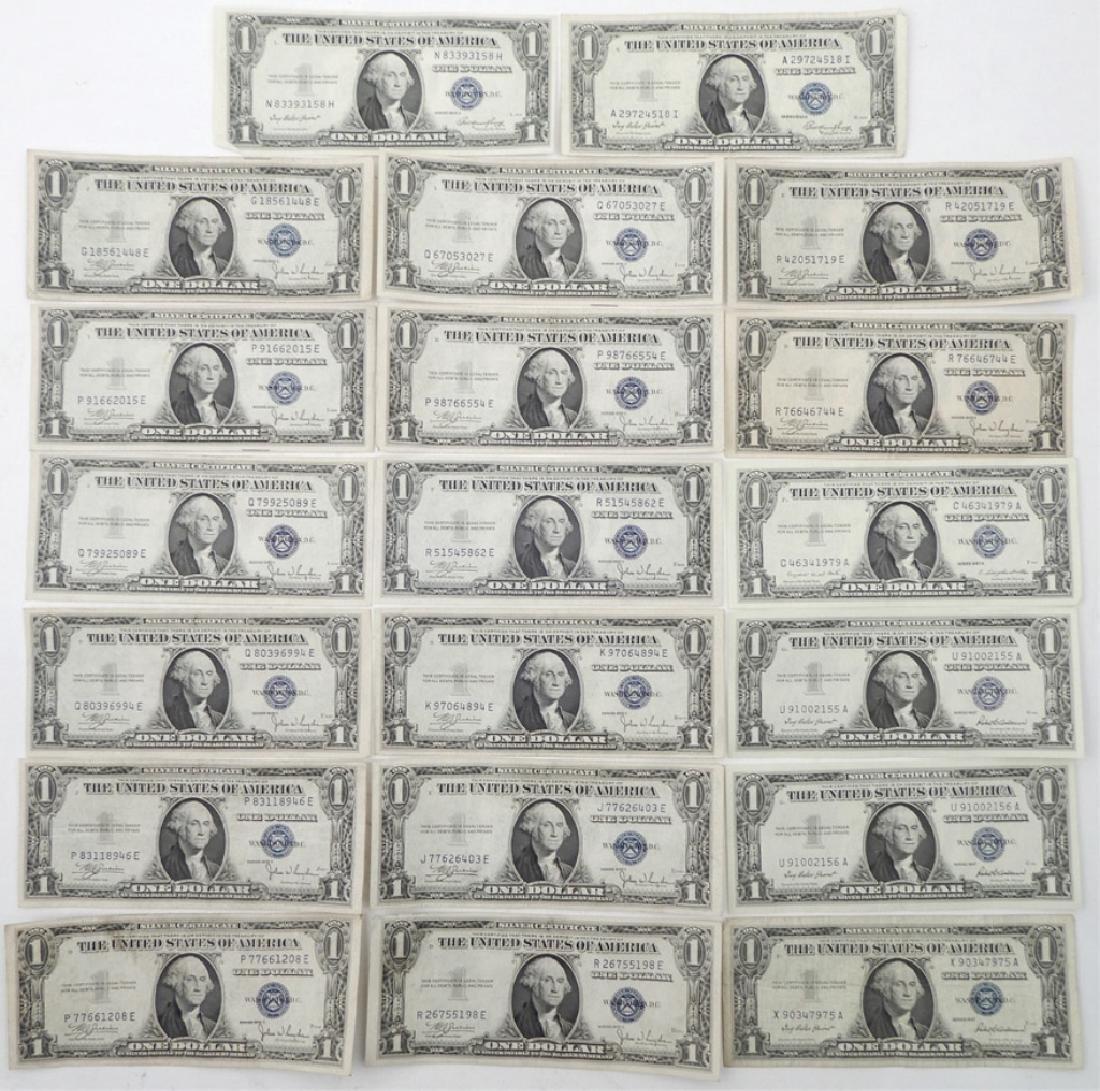 Twenty $1.00 silver certificates