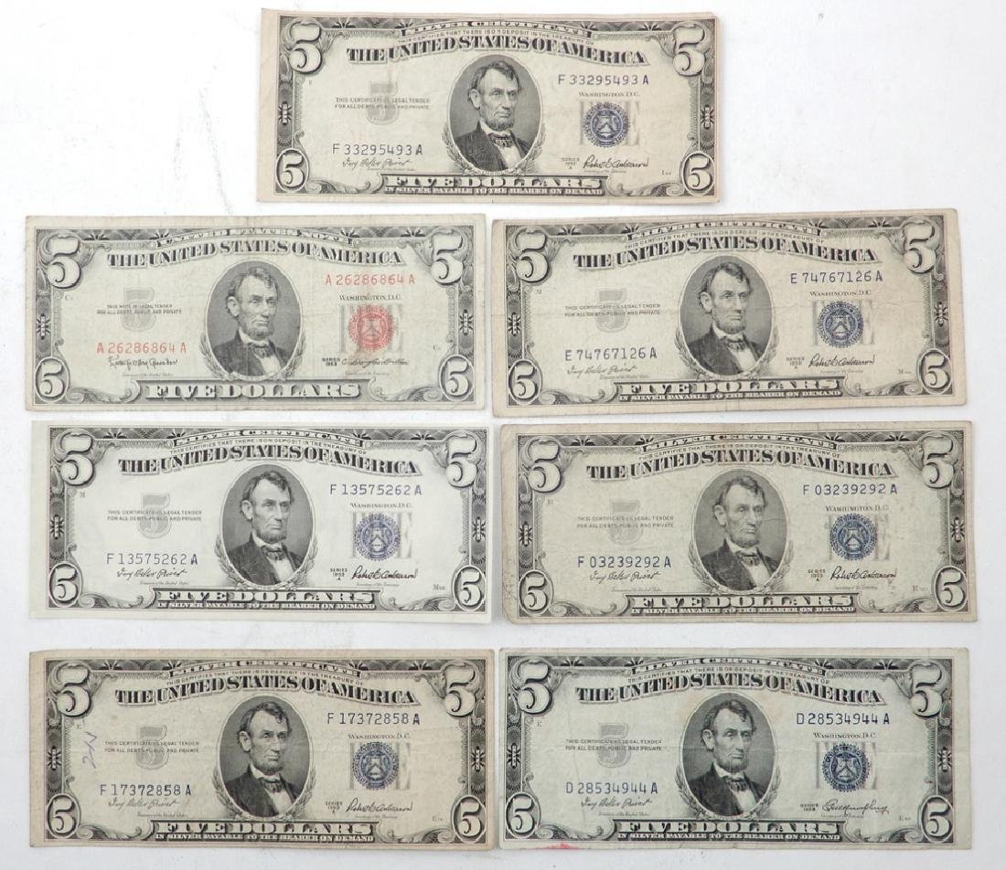 Six 1953 $5.00 silver certificates and one 1963 $5.00