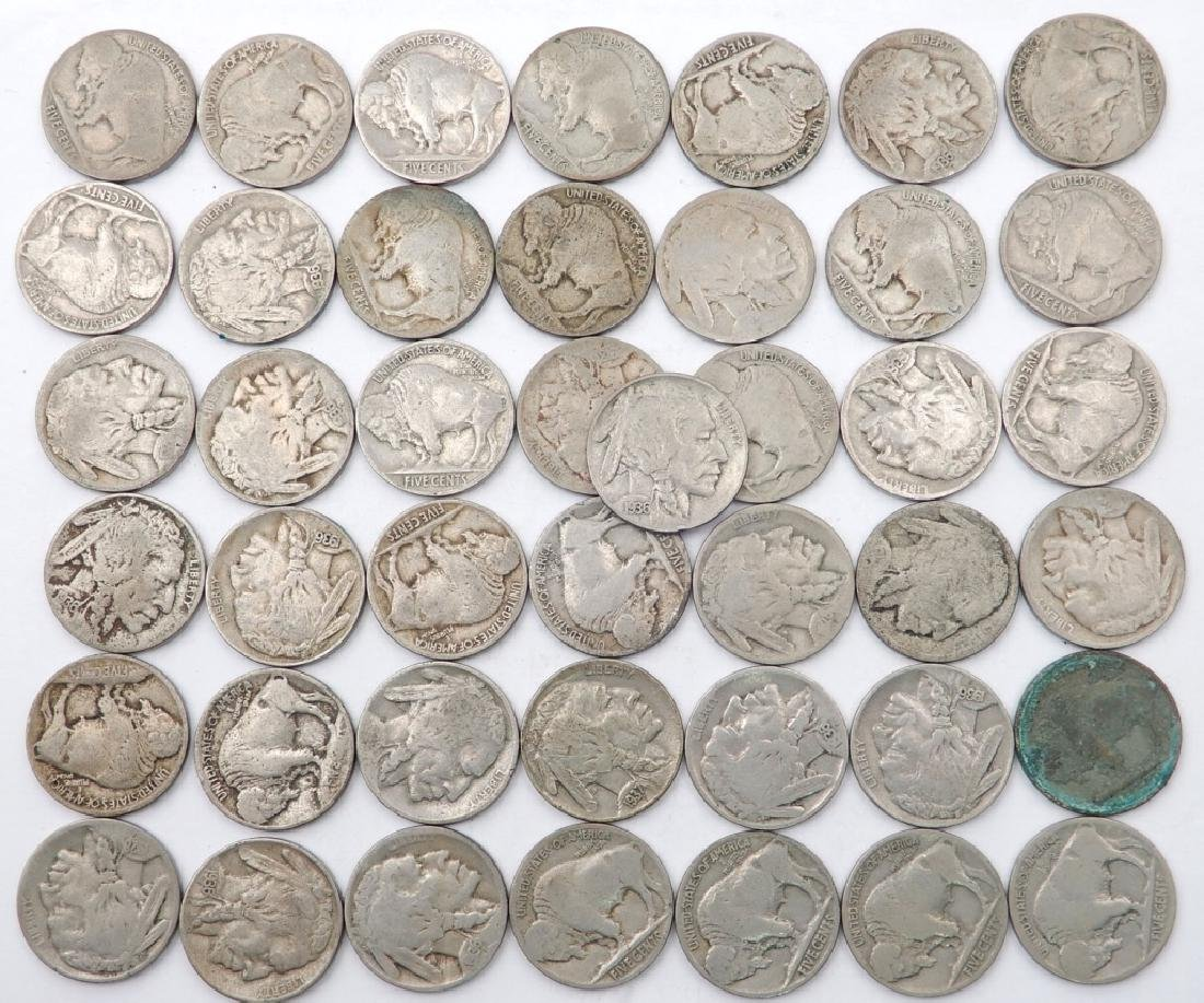 Forty-three Buffalo nickels