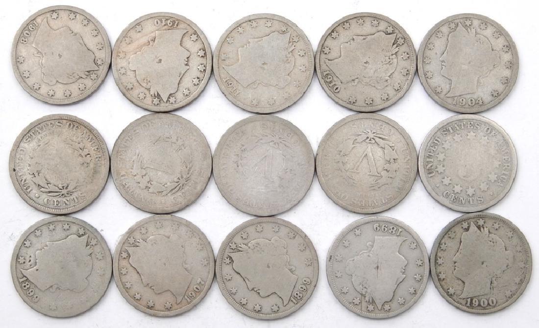 Fifteen Liberty Head nickels