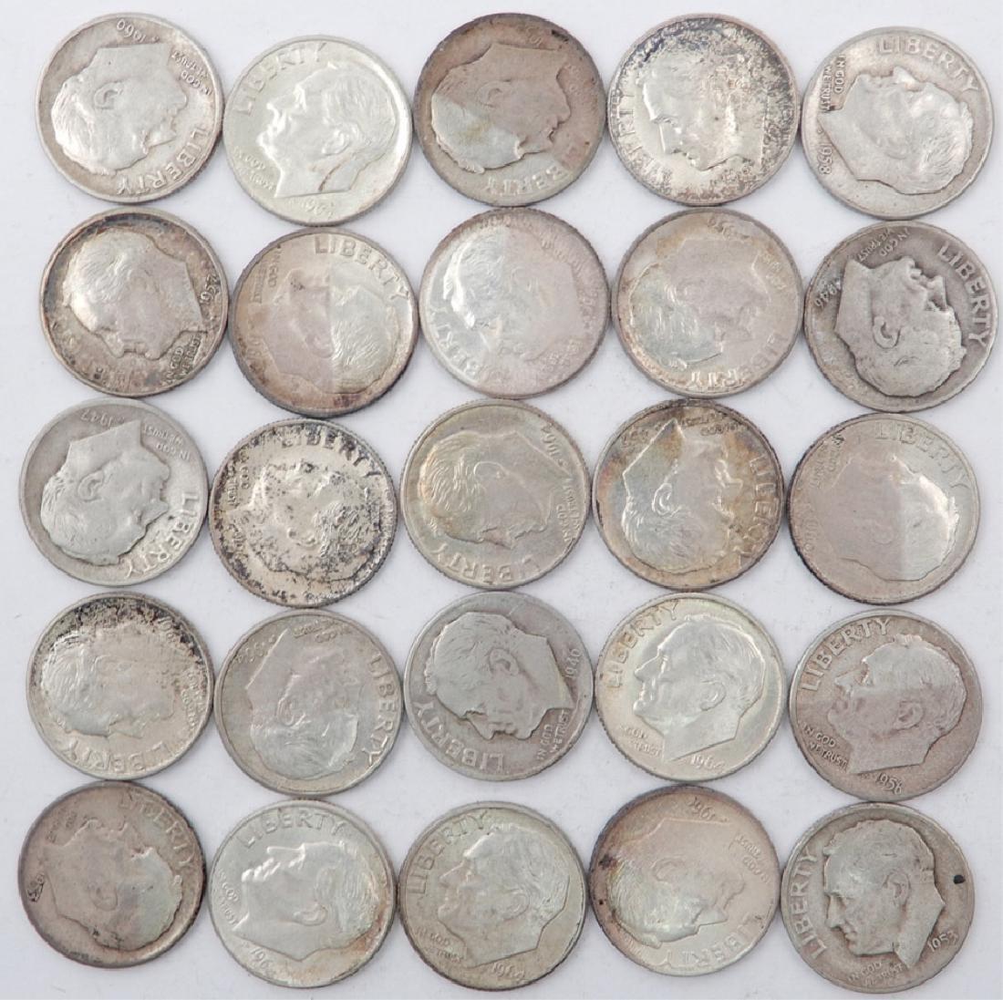 Twenty five silver Roosevelt dimes