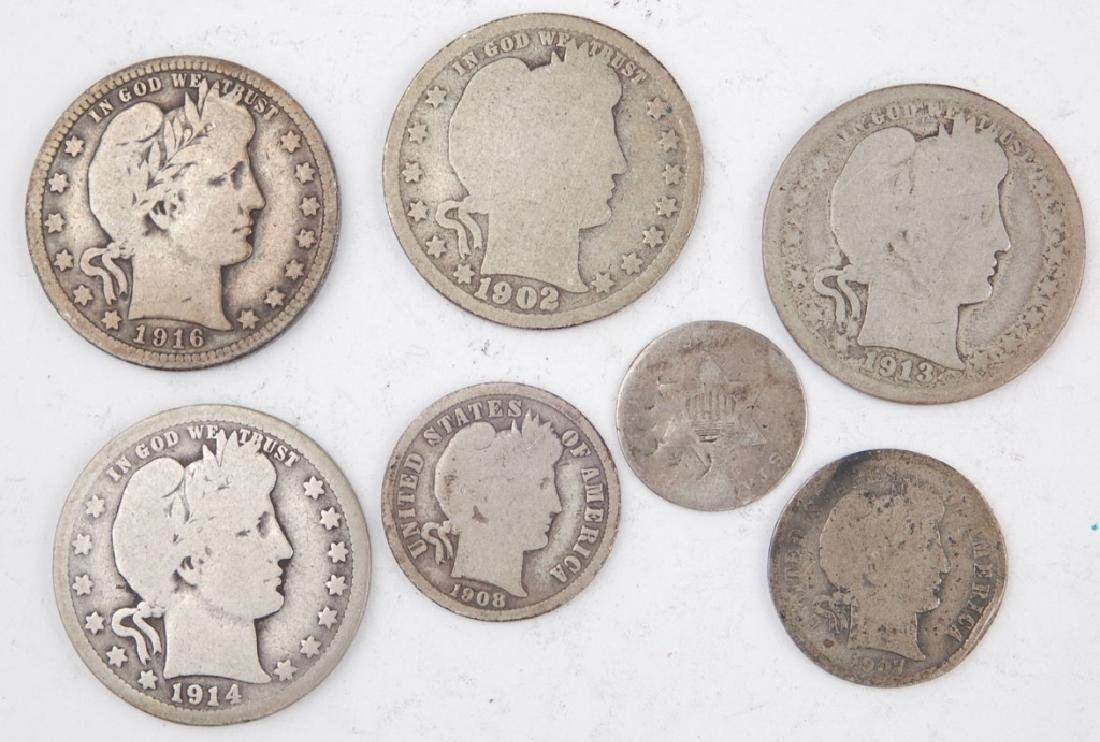 Four Barber quarters and two Barber dimes, one silver 3