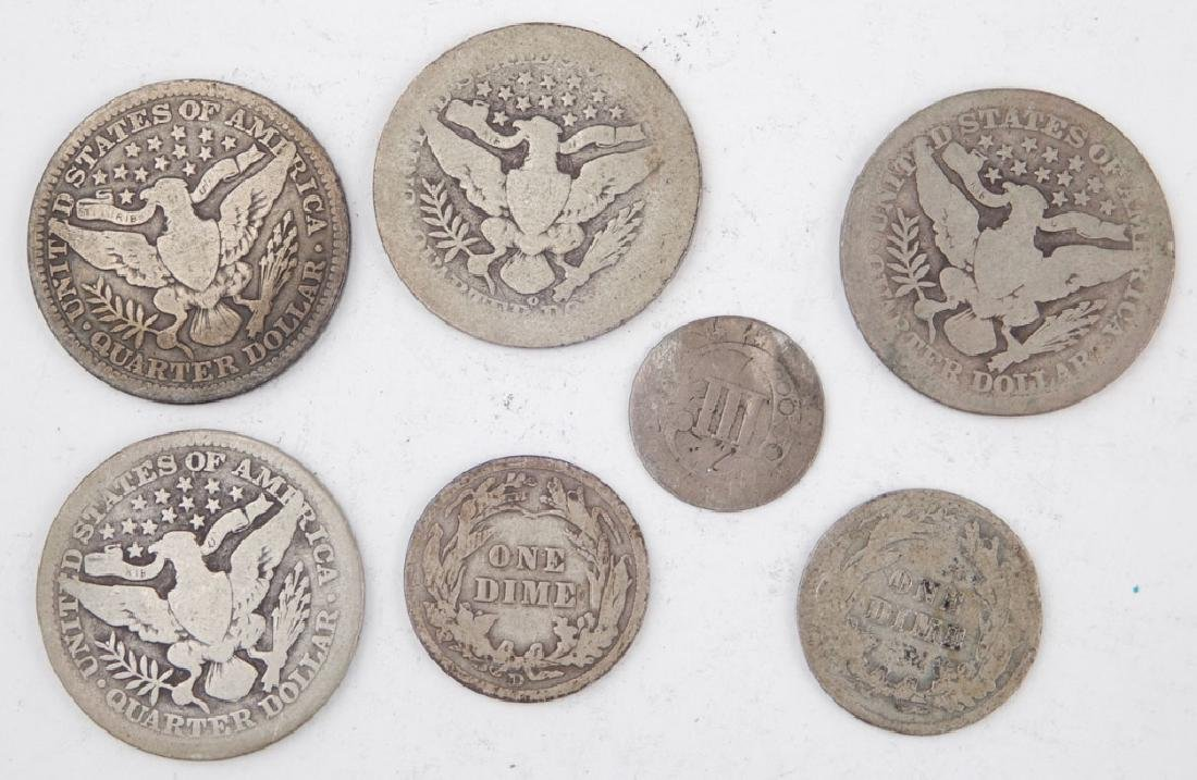 Four Barber quarters and two Barber dimes, one silver 3 - 2