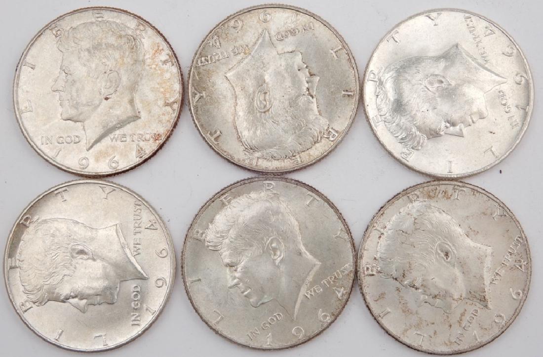 Six 1964 silver Kennedy half dollars
