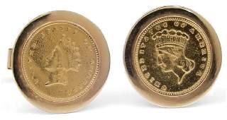 14k gold coin motif cufflinks