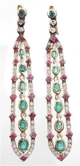 18k Gold Emerald Ruby And Diamond Earrings