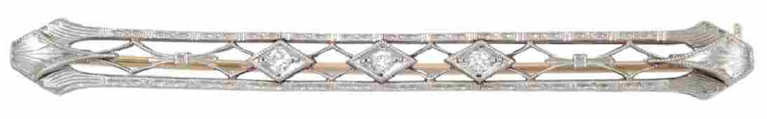Art Deco 14k gold filigree diamond bar pin