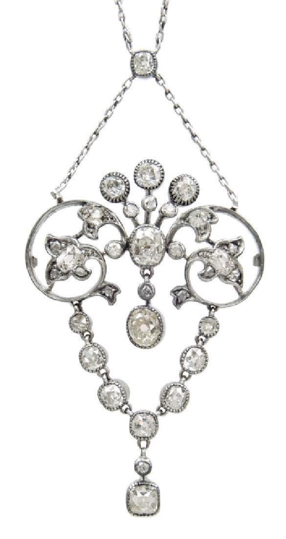 Edwardian gold and diamond girandole necklace