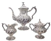 Stieff sterling silver full hand chased tea set