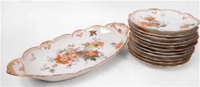 Twelve piece Limoges porcelain ice cream set