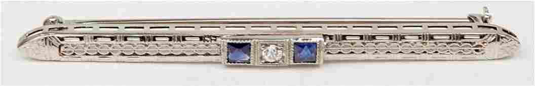 Art Deco 14k white gold filigree diamond bar pin, 2 3/8