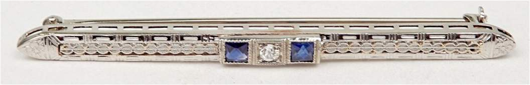 Art Deco 14k white gold filigree diamond bar pin, 2 3/8