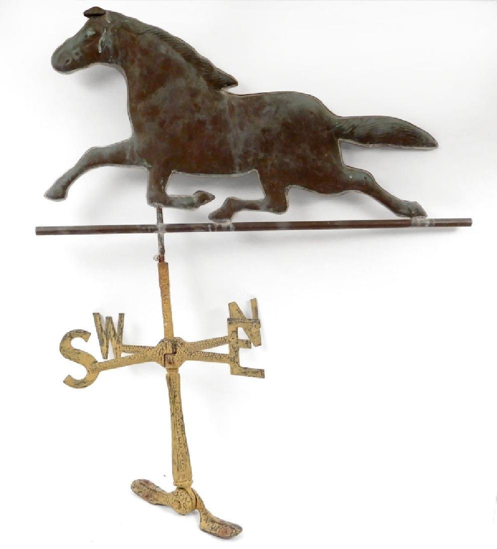 Copper horse weathervane with directionals