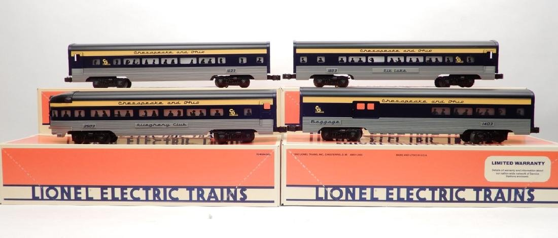 Four Lionel Chesapeake & Ohio passenger cars in boxes