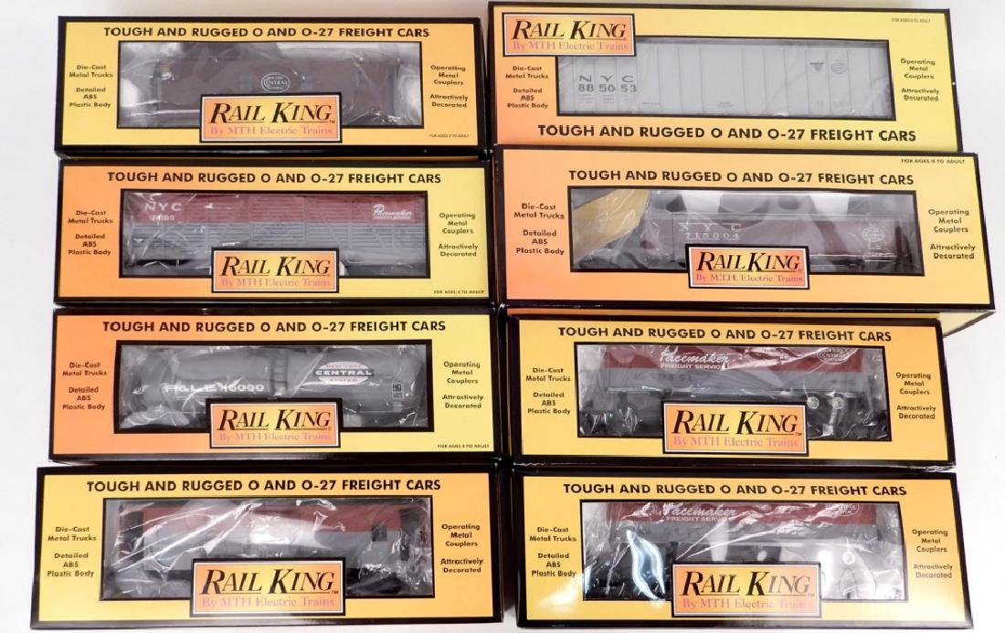 Eight Rail King New York Central freight cars in boxes