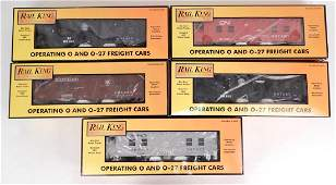 Five Rail King Freight Cars in original boxes