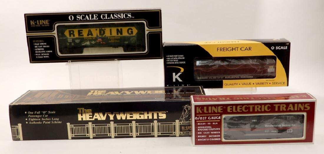 Four K Line freight cars in original boxes