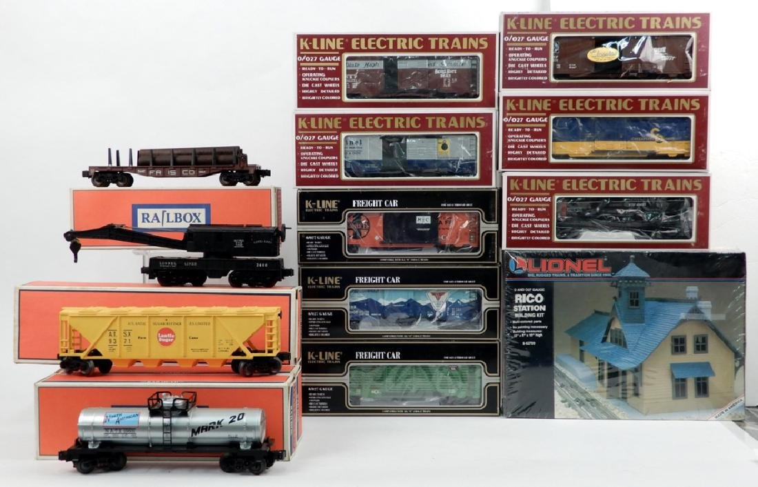 Grouping of freight cars and accessories