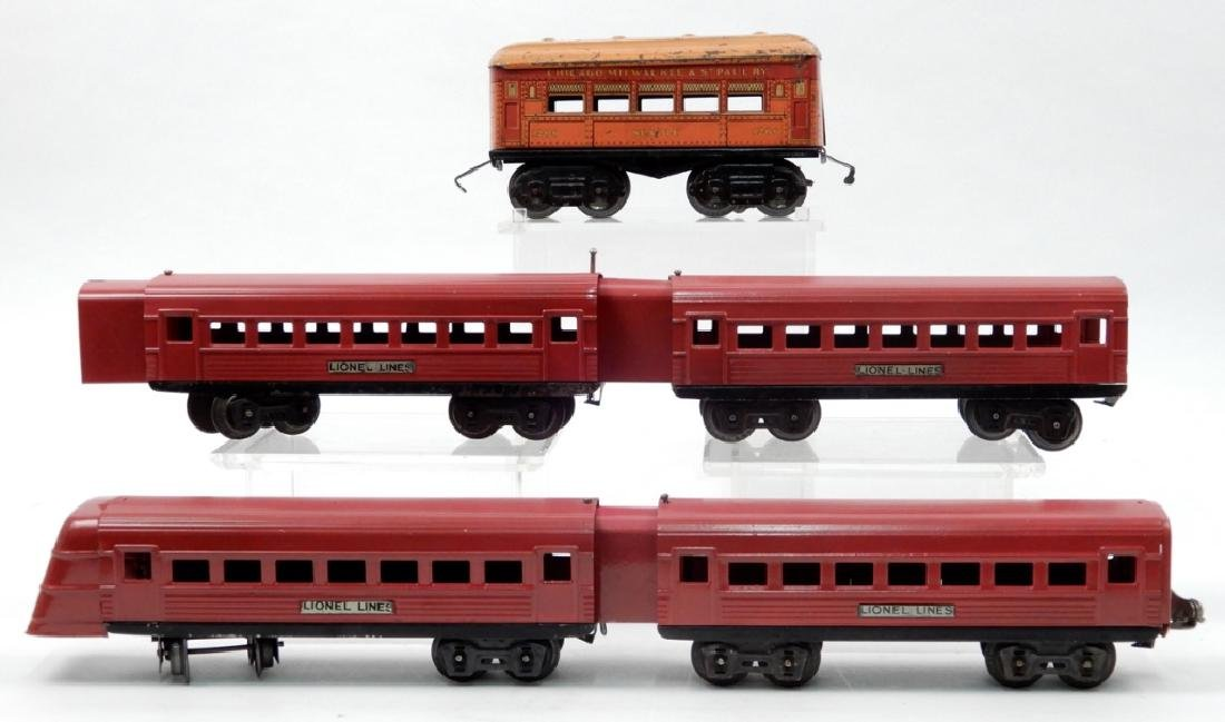 Lionel Lines prewar passenger cars and an American
