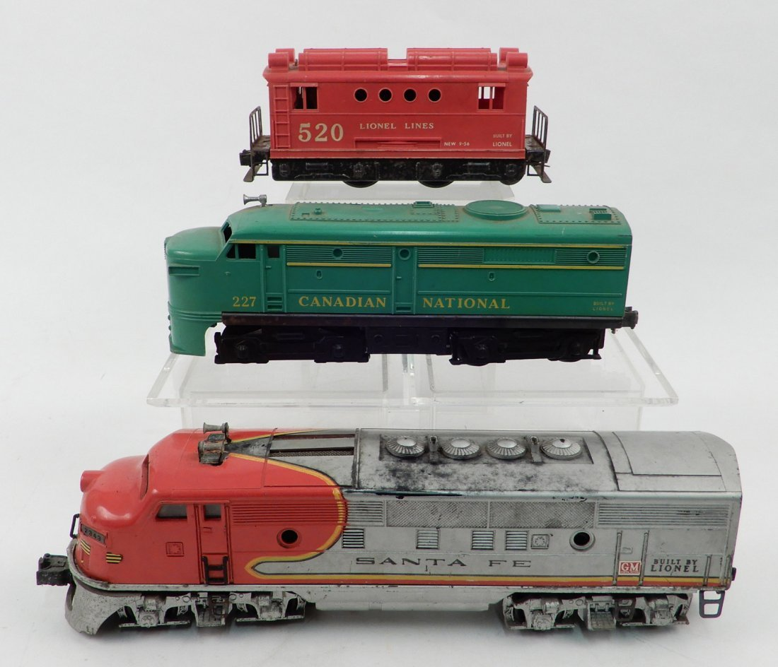 Three Lionel O gauge locomotives, includes No. 227