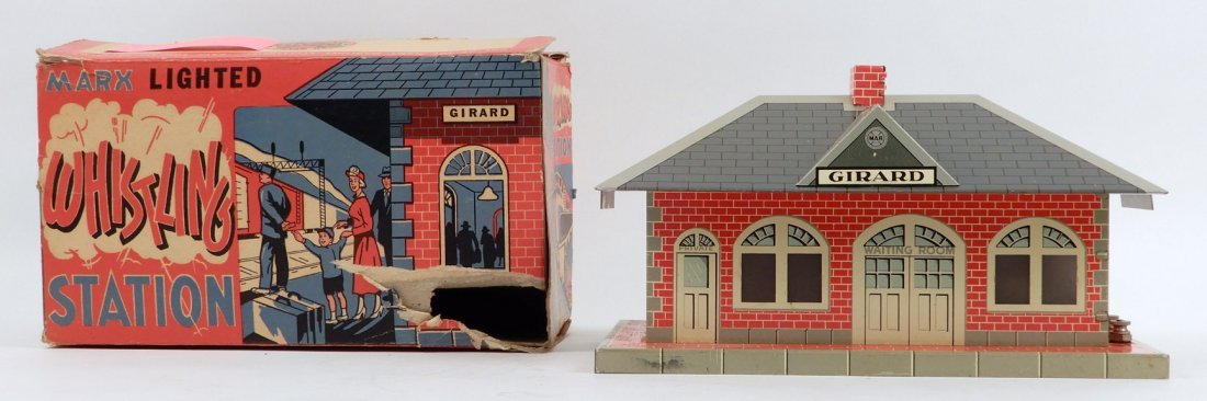 Marx Whistling Station in original box, tin litho