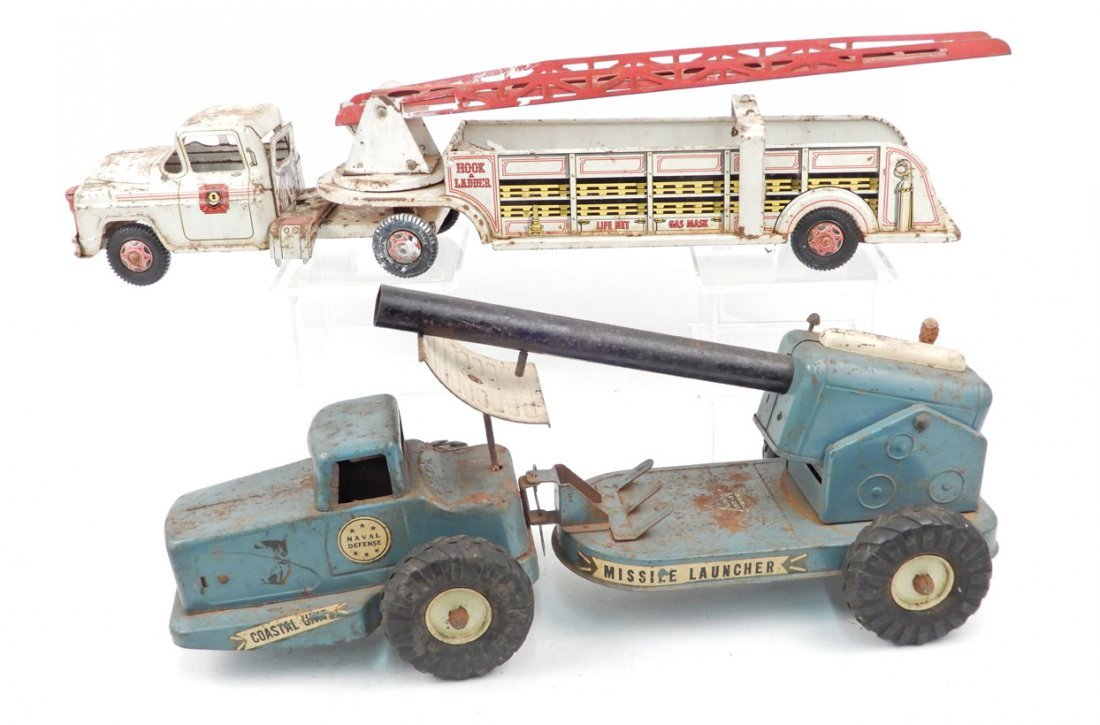 Two painted pressed steel trucks, includes Ny-Lint Toys