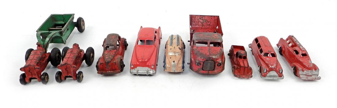 Collection of cast iron and diecast vehicles, ten total