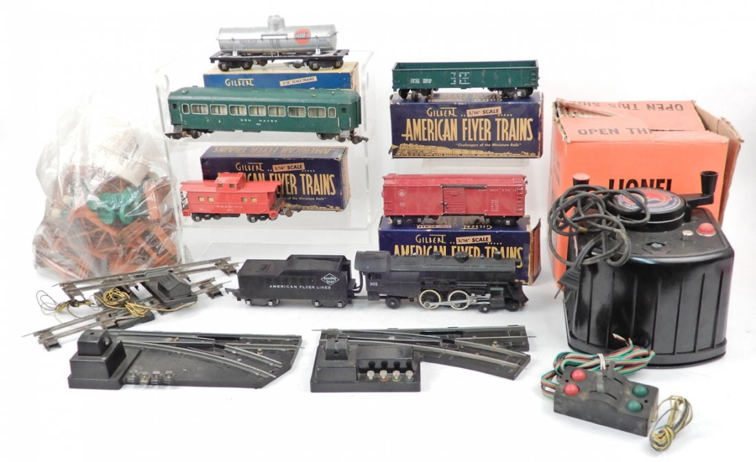 American Flyer S gauge freight train set, some in boxes