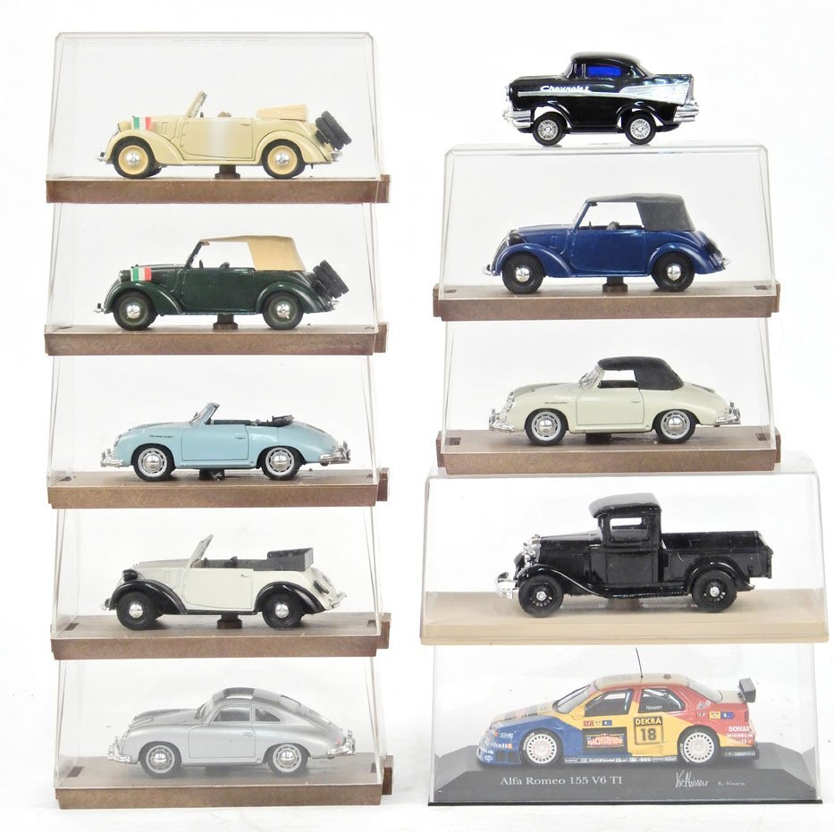 Nine scale model cars in cases, includes seven by Brumm