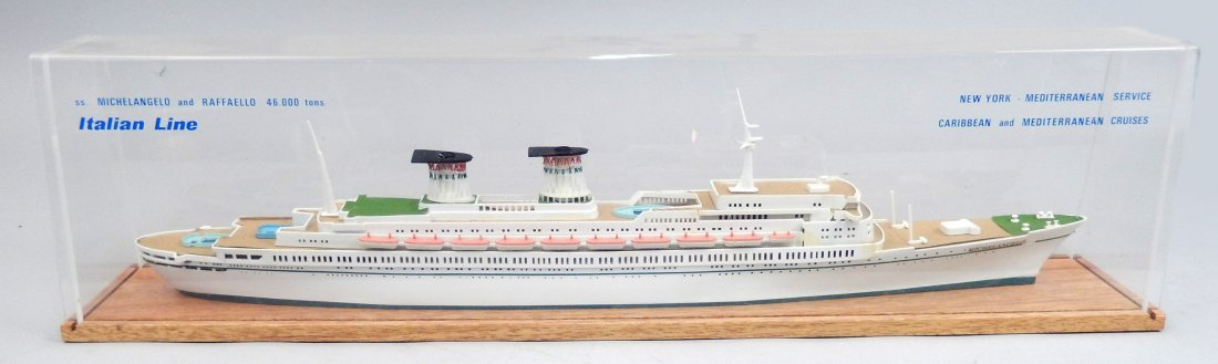 SS. Michelangelo and Raffaello Italian Line ship model