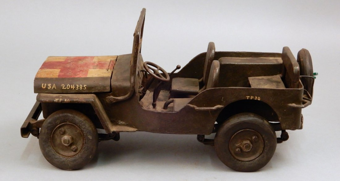 Iron military jeep model, hand painted model of a US WW