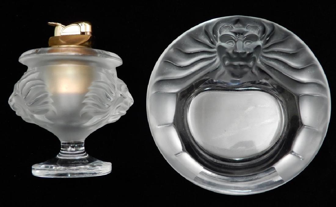 Lalique Lion ashtray and cigarette lighter