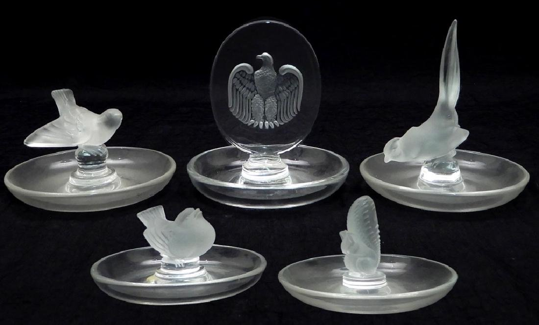 Five Lalique crystal pin trays