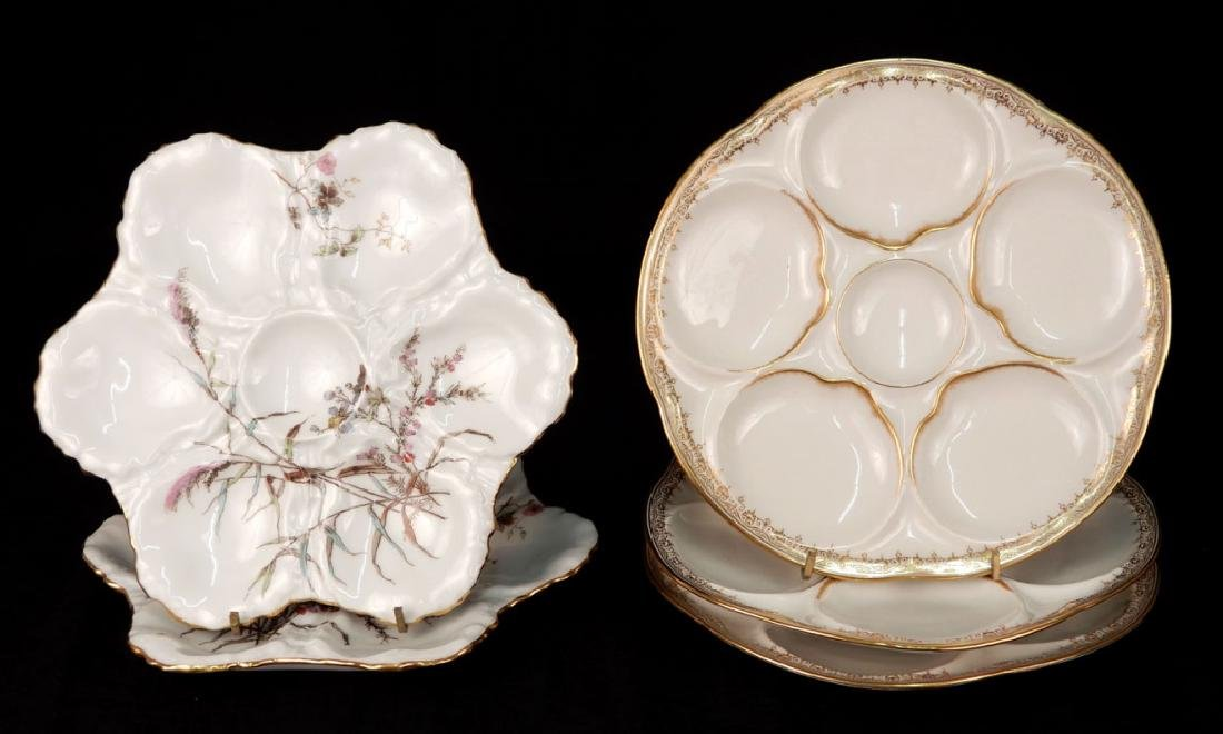 Five Haviland Limoges oyster plates