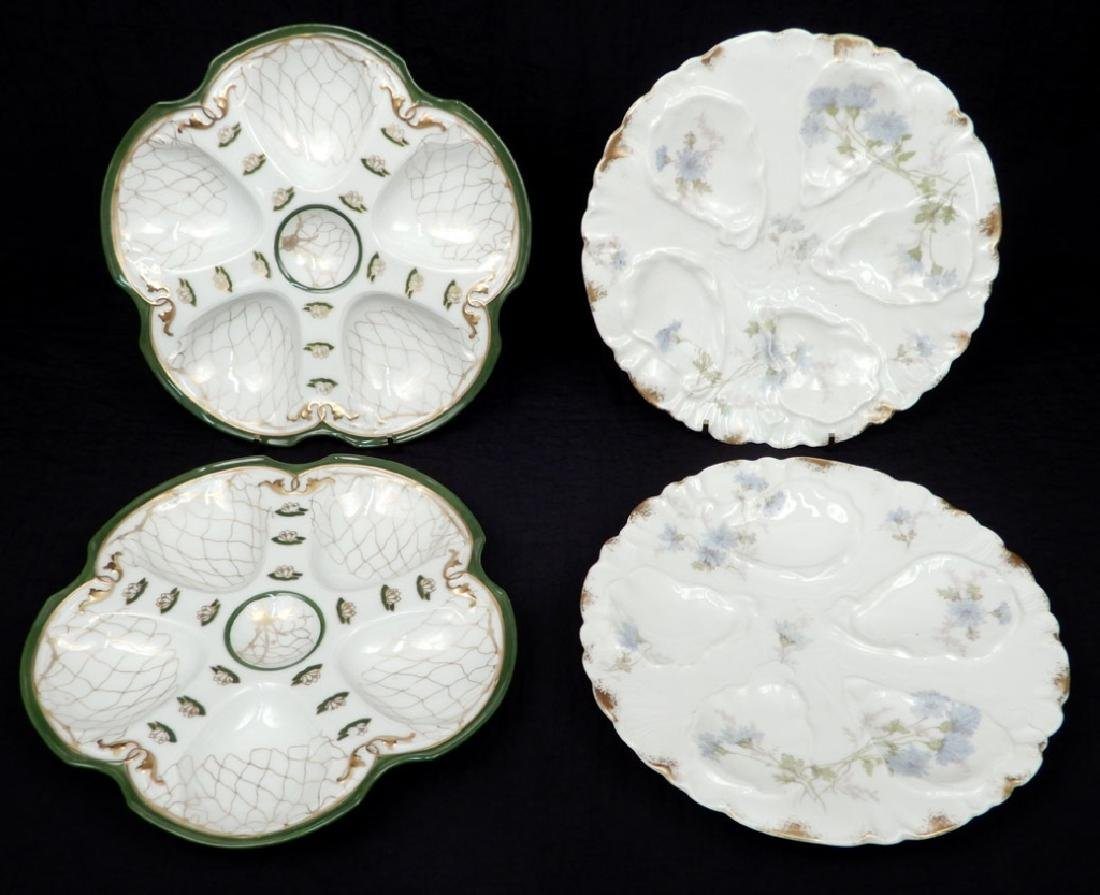 Two pairs of Limoges oyster plates
