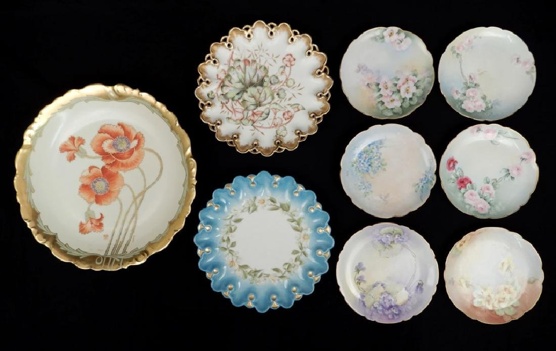 Grouping of hand painted Limoges porcelain plates