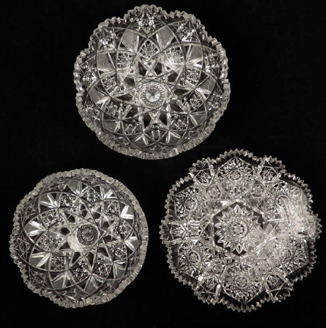 Three American Brilliant cut glass bowls
