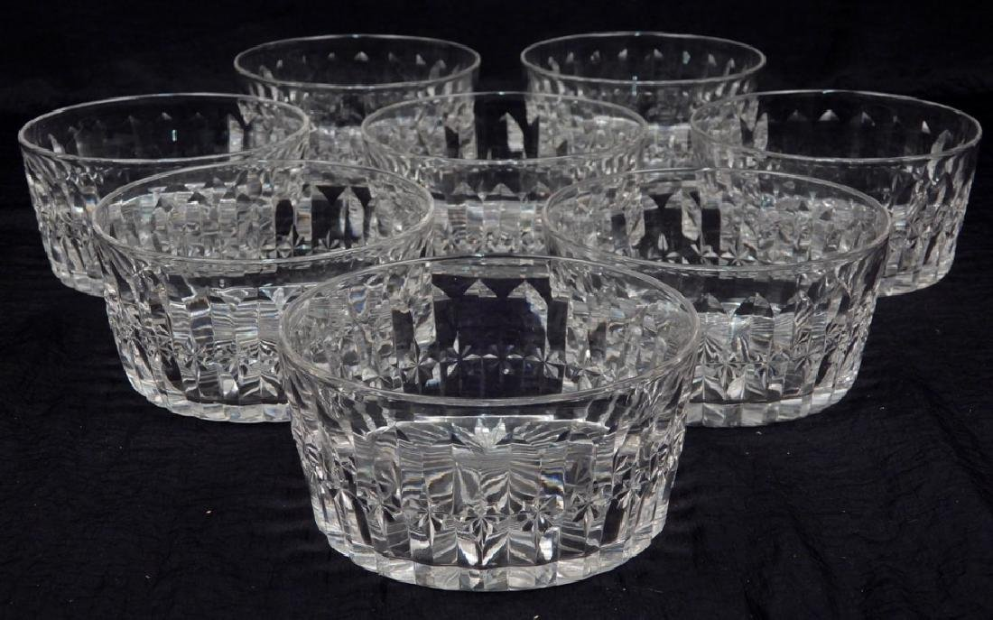 Set of eight Hawkes cut glass finger bowls